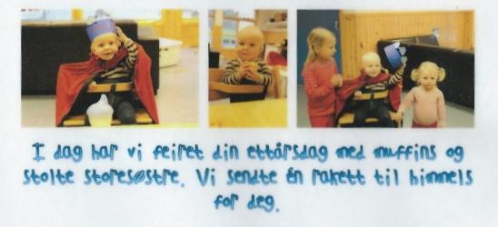 Minstemann feirer 1 års dagen i barnehagen!